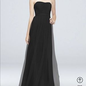 Black Tulle Long David's Bridal Bridesmaid Dress